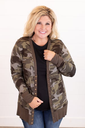 sku13750 | **Daily Deal** Camo Snap Cardigan
