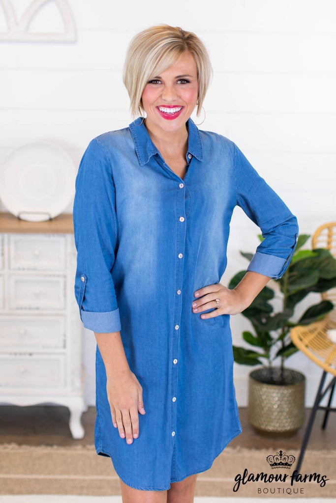 sku10584 | Denim Shirt Dress