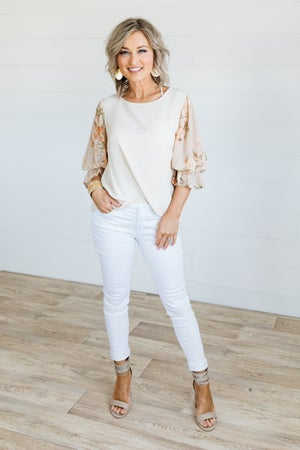 sku19770 | Linen Floral Sleeve Top