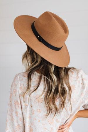 sku19338   Wide Brim Belted Fedora Hat