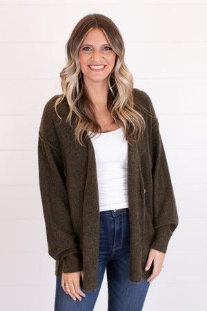 sku16318 | Heathered Knit Sweater Cardigan