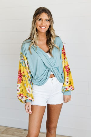 sku19849 | **Daily Deal** Floral Sleeve Draped Front Top