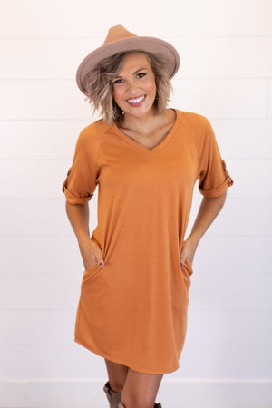sku15660 | **Daily Deal** V Neck Button Rolled sleeve Dress