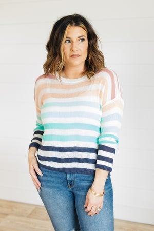 sku21360 | Lightweight Striped Drop Shoulder Sweater