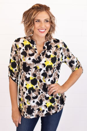 sku16992 | Mixed Print Tab Sleeve Top