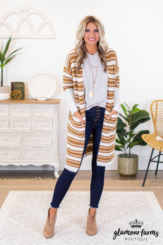 sku9295 | Multi Stripe Long Cardigan