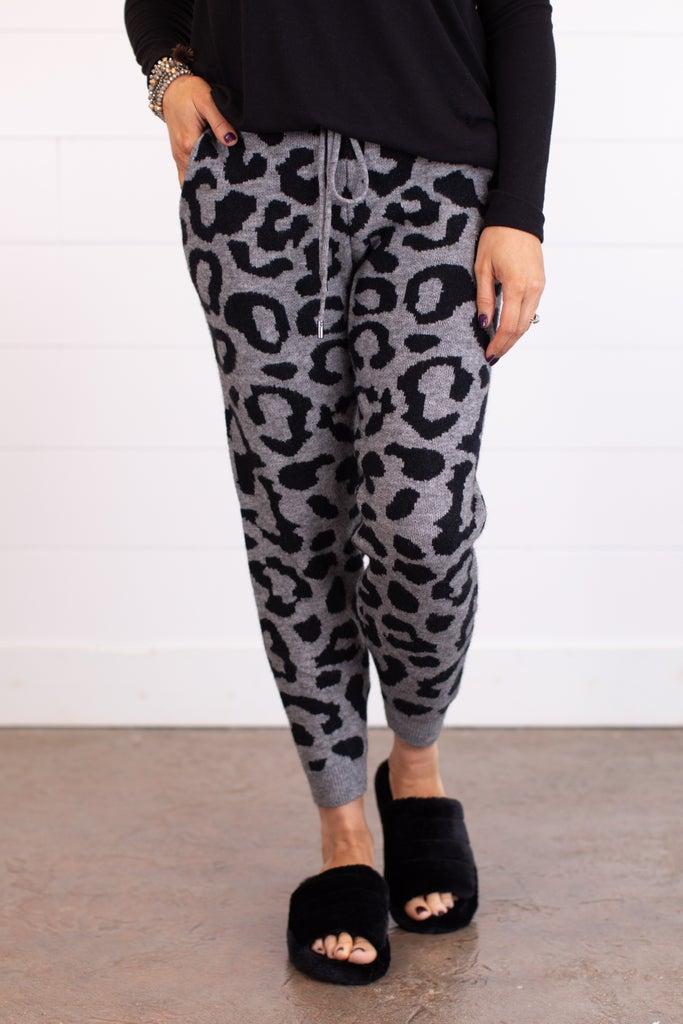 sku17502   Animal Print Sweater Joggers