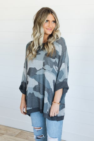sku20748 | Oversized Camo Dolman Tunic Sweater