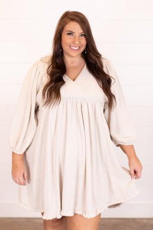 sku17143 | Frayed Trim Babydoll Dress
