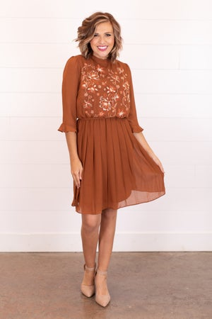 sku16922 | Embroidered Pleated Skirt Dress