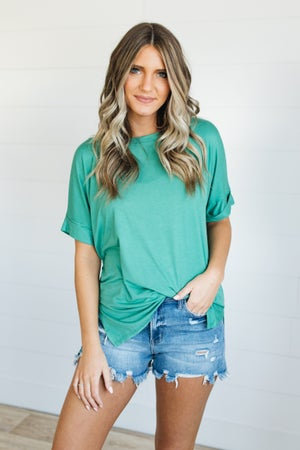 sku20240 | **Daily Deal** Rolled Sleeve Tunic Top