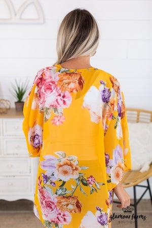 sku14479 | Floral Chiffon Kimono