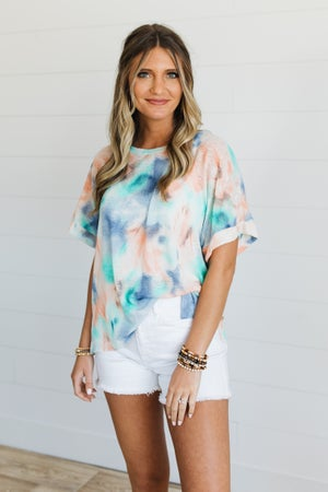 sku19856 | **Daily Deal** Tie Dyed Knit Hi-Lo Top