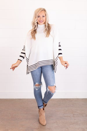 sku17978 | Striped Border Poncho Tunic