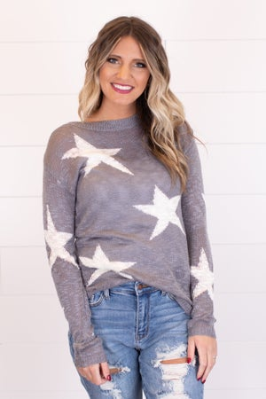sku18134 | Distressed Star Print Sweater
