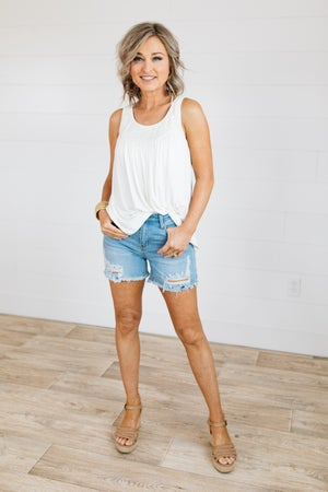 sku19812 | Distressed Denim Shorts