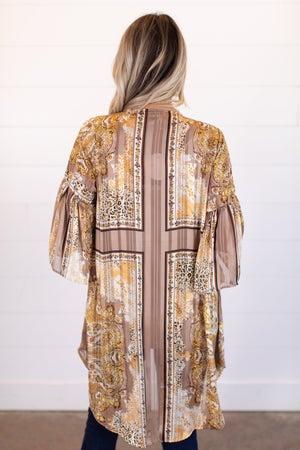 sku15669   Paisley Print Metallic Kimono