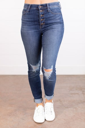 sku17754 | High Rise Button Fly Distressed Skinny Jean