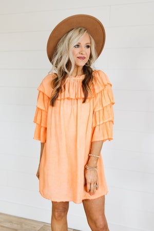 sku19794 | **Daily Deal** Mineral Washed Off Shoulder Tunic Dress