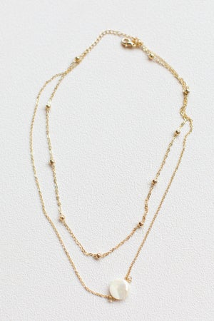 sku17319   Shell Pendant Layered Necklace