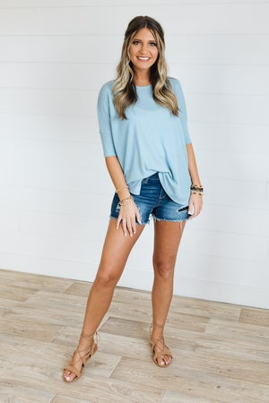 sku19458 | **Daily Deal** Waffle Knit Side Slit Top
