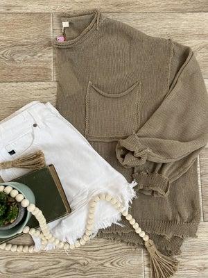 sku21145 | Lightweight Raw Hem Sweater