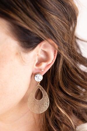 sku16763 | Print Disc and Filigree Earrings