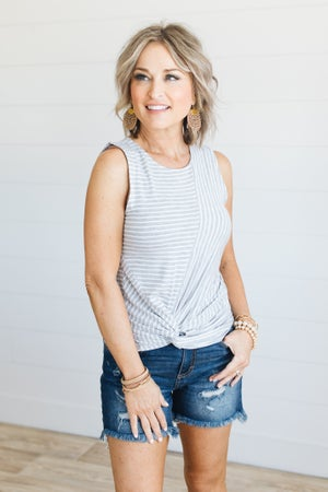 sku20566 | **Daily Deal** Striped Front Twist Top
