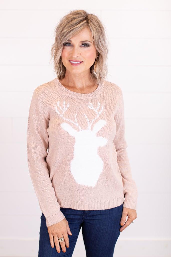 sku16394 | Fuzzy Deer Applique Sweater