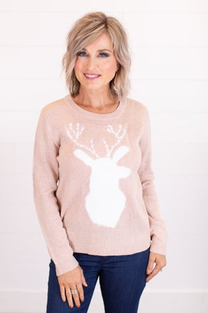 sku16394 | Fuzzy Deer Applique Sweater