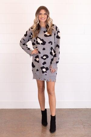 sku16750 | Distressed Animal Print Sweater Dress