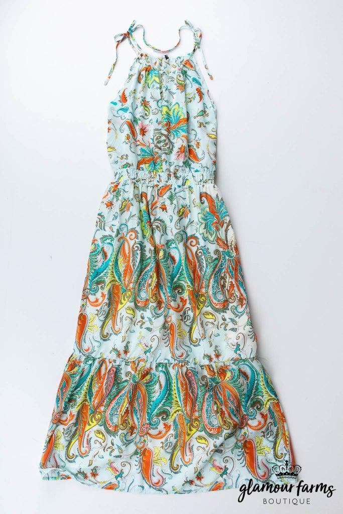 sku13114   Floral And Paisley Maxi Dress