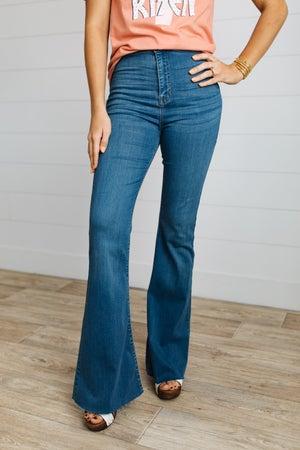 sku19899 | High Rise Raw Edge Flared Jeans
