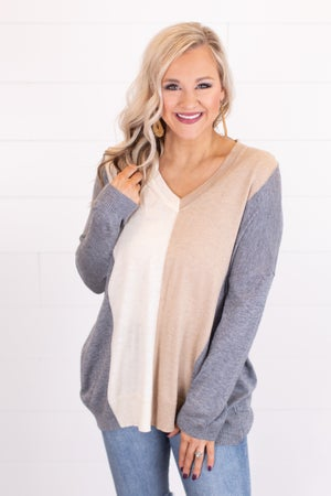 sku17468 | Color Block Tunic Sweater
