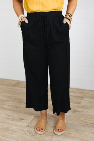 sku19020 | Linen Fray Edge Drawstring Pants