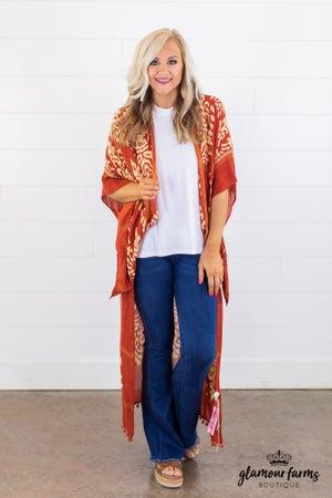 sku14958 | Damask Print Duster Kimono