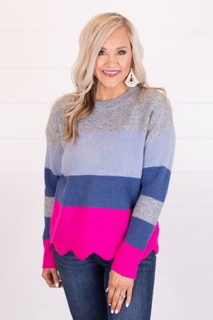 sku17175 | Color Block Scallop Sweater