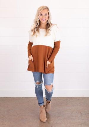 sku18003 | Color Block Tunic Sweater