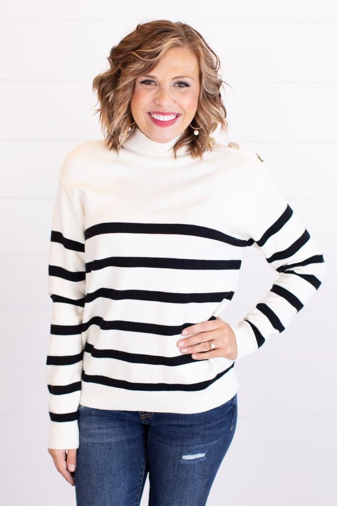 sku17533 | Striped Button Detail Sweater