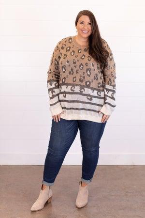 sku15355 | Mixed Print Color Block Sweater