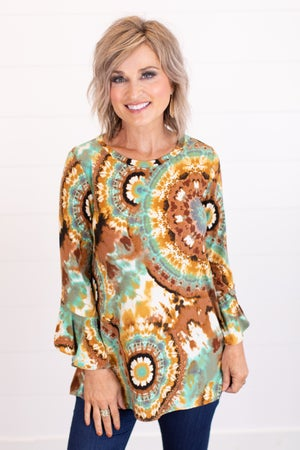 sku16441 | Tie Dyed Bell Sleeve Top