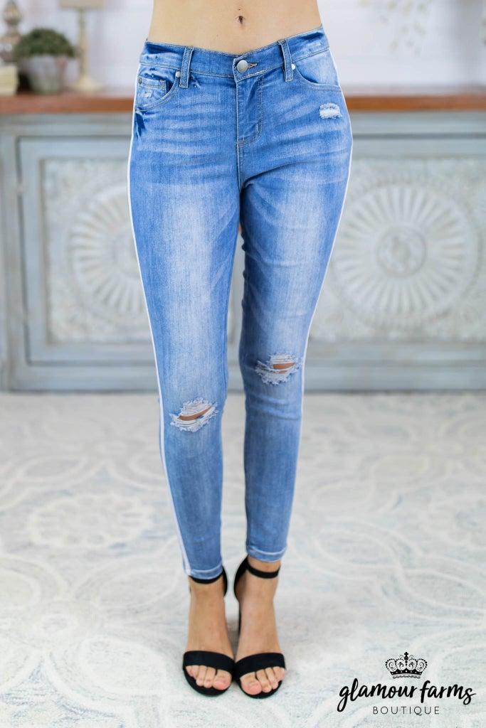 sku8134 | Distressed Side Stripe Jean