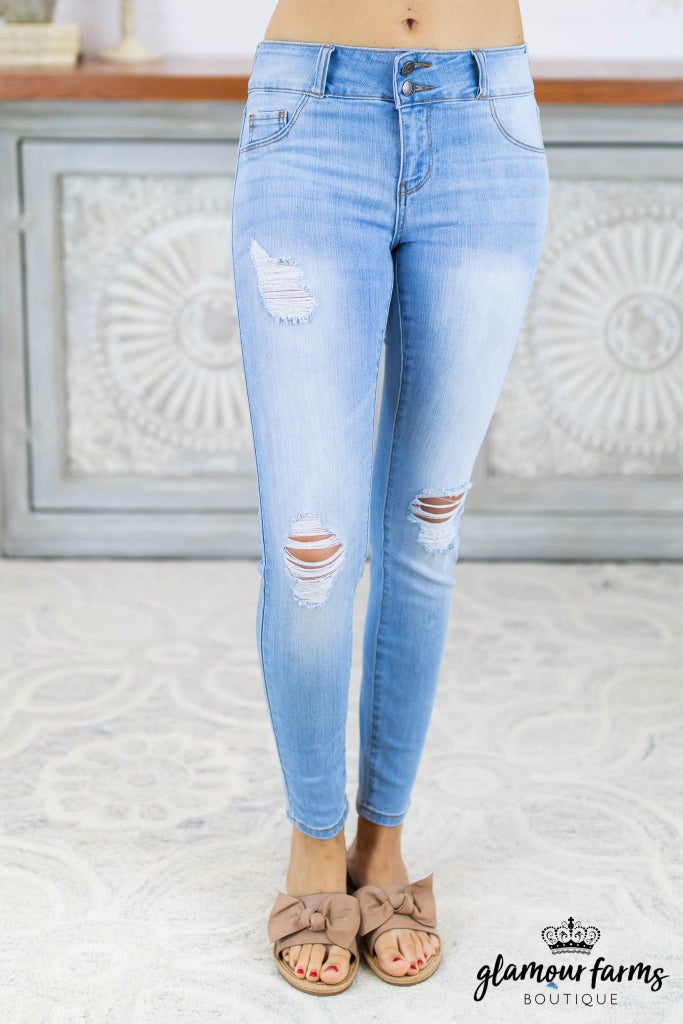 sku8340 | Distressed Two Button Skinny Jean