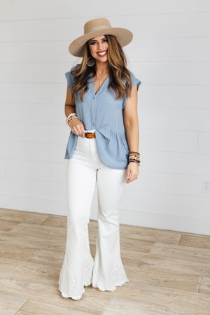 sku19915 | **Daily Deal** Button Up Peplum Top