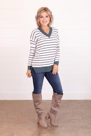 sku17810 | Striped V-Neck Sweater