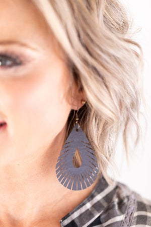 sku17801 | Cork Feather Teardrop Earrings