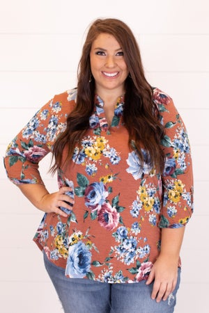 sku16990 | Floral Tab Sleeve Top