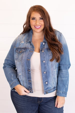 sku11982 | Cropped Distressed Denim Jacket