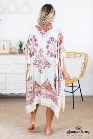 sku14269 | Floral Boho Kimono