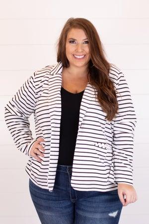 sku18053 | Striped One Button Blazer